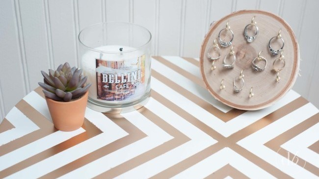 Geometric gold and white coffee table
